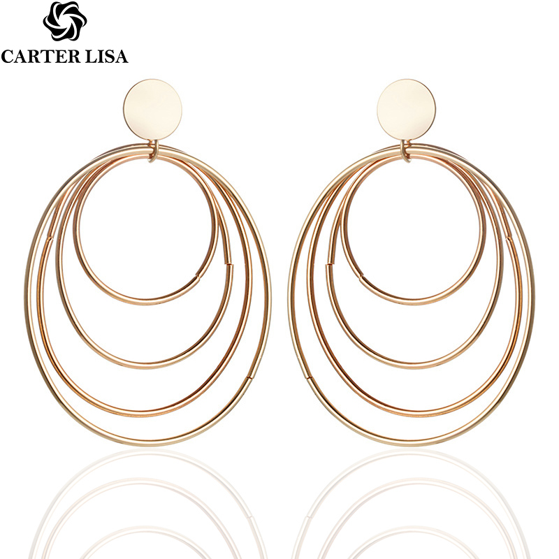 CARTER LISA 2019 Metal Earrings For Women Girl Long Multi Circle Drop Earring Jewelry Charm Party Exaggerated Vintage Earring