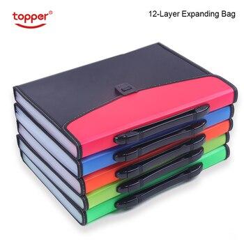 12-Layer Big เอกสารกระเป๋ากระเป๋าหีบเพลงการจำแนกเอกสารการทดสอบเครื่องมือธุรกิจขยายแฟ้มโฟลเดอร์...