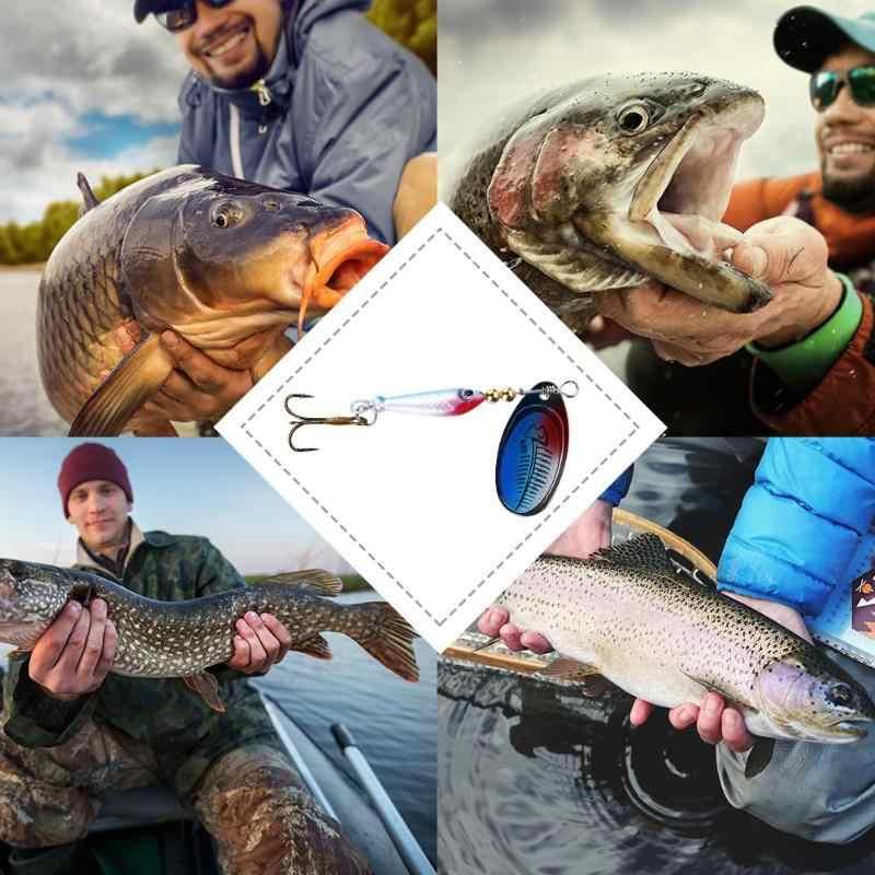 A forma di pesce di rotazione Spinner Bait Paillettes Richiamo di Pesca Bionico Esche Artificiali Bass Esche Dure Cucchiaio Treble Hook Strumento Tackle