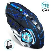 Wireless Gaming Maus 2400 DPI Wiederaufladbare Einstellbare 7 Farbe Hintergrundbeleuchtung Atmen Gamer Maus Spiel Mäuse für PC Laptop