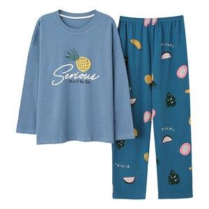 Image 3 - Grande taille M 5XL femmes Pyjamas ensembles doux vêtements de nuit automne hiver à manches longues Pyjamas dessin animé pyjama imprimé femme Pijamas Muje
