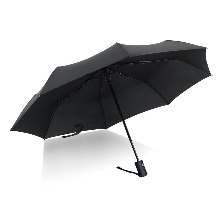 Fully Automatic Windproof Men Umbrella Business Fashion Folding Ladies Umbrella 8 bones Parasol UV Protection Black Coating