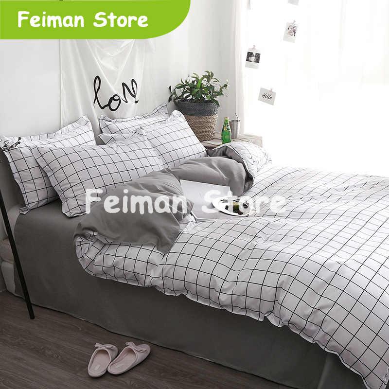 Home Textile Black Lattice Duvet Cover Pillowcase Bed Sheet Simple Boy Girls Bedding Sets 3/4Pcs Single Double Bedlinen