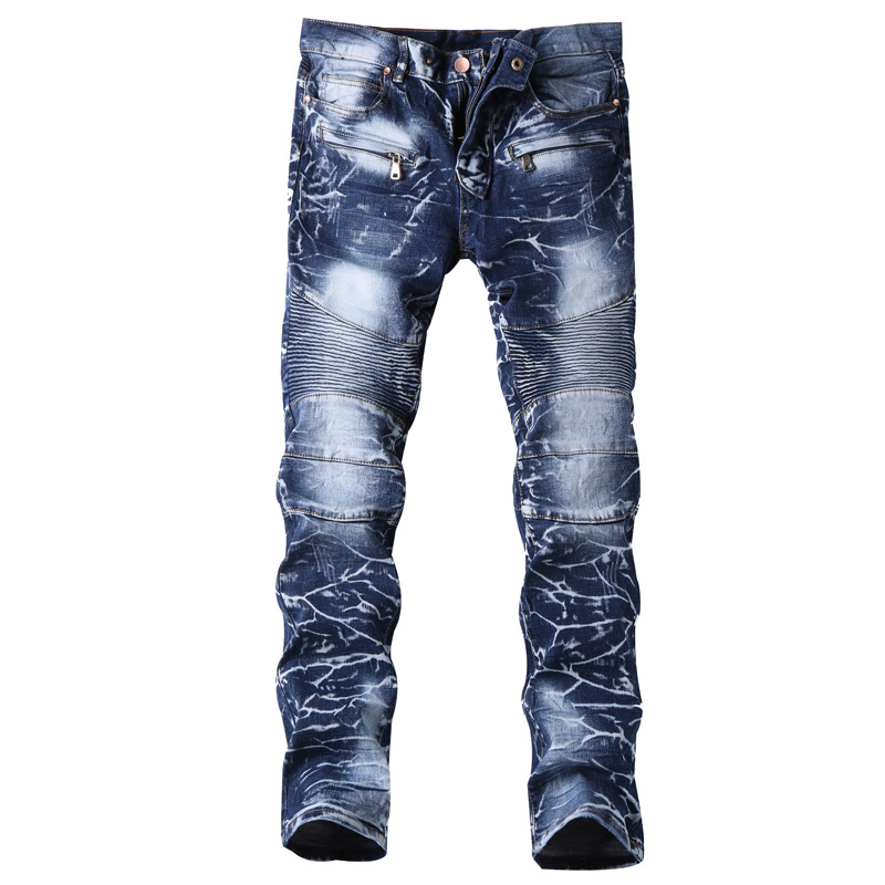 Popular Brand Multi-Zipper Pleated Stitching Jeans Snow Wash Locomotive Slim Fit Pants With Holes Cowboy Trousers Men'S Wear