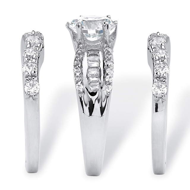 3pcs/set Luxury White Zircon Rings Set For Women Accessories Bride Wedding Engagement Ring Jewelry Gift