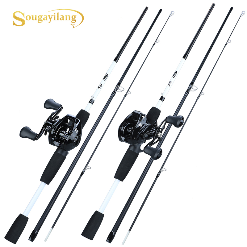 Sougayilang New1.75m Angelrute Reel Combo Portable3 Abschnitt Carbon Angelrute with12 + 1BB Baitcastingrolle Angelgerät Set