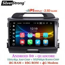 Silver sturdy Android9.Zero IPS 4G Nine pulgadas GPS para coche KIA Sportage3 2009-15 android9.Zero IPS Sportage R canbus para amplificador