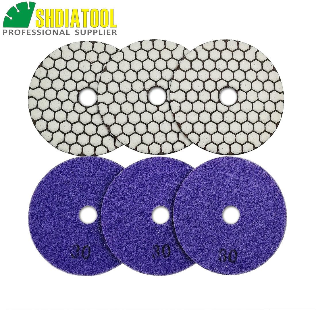 """4/"""" Ceramic Bond DRY DIAMOND POLISHING Pad 30 Piece Granite Marble Stone Concrete"""