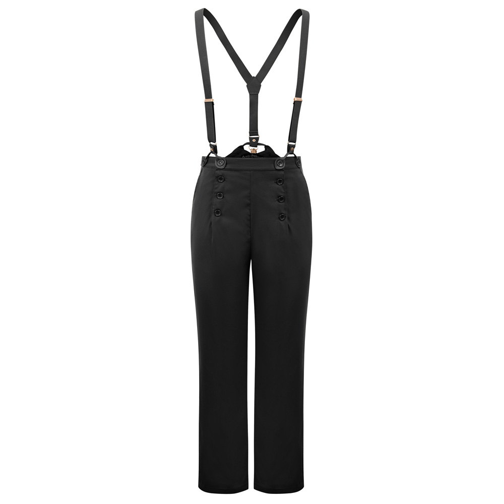 Autumn Winter Men Overalls Bib-and-Brace Pants Office Trousers Steampunk Victorian Cotton Solid Color Buttons Casual Pants Male
