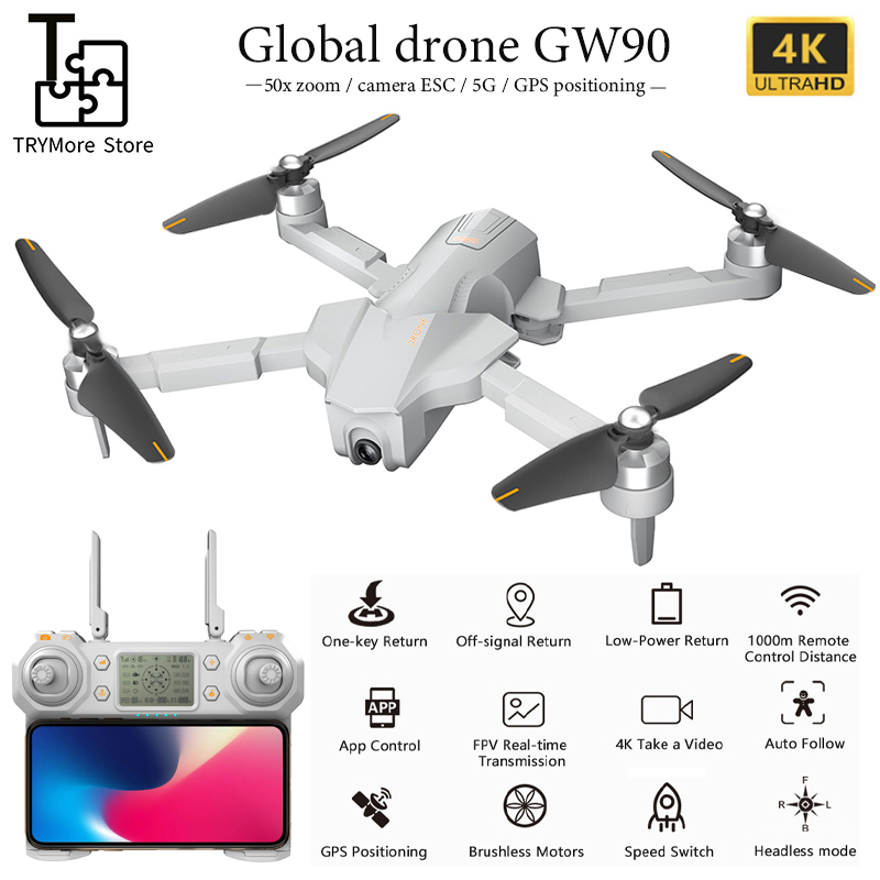 2020 New Global Drone Gw90 With 4k Gps Drone Aerial Photography Hd Professional Ultra-long Battery Life Four-axis Folding Drone image