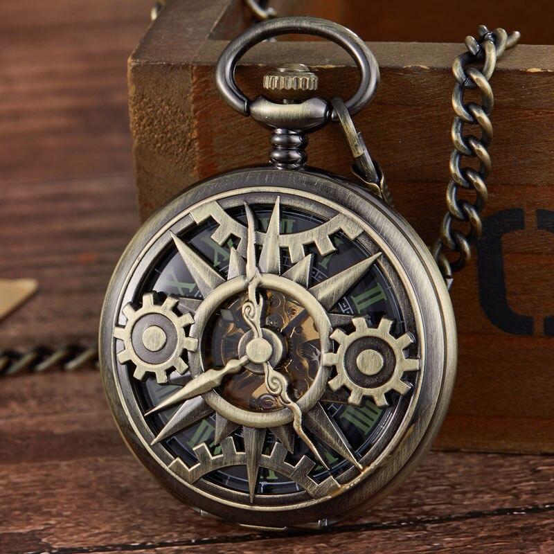 Relógio de Bolso Mão de Esqueleto Chegada Nova Steampunk Retro Engrenagem Movimento Mecânico Vento Fob Cadeia Pingente Presente Oco