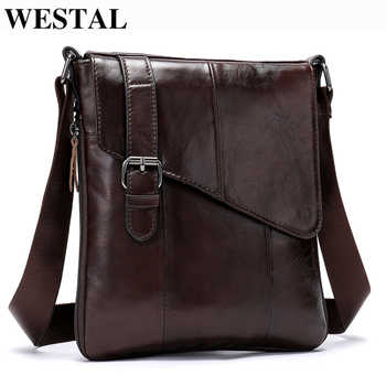 WESTAL Men Leather Messenger Bag Men\'s shoulder bag Genuine Leather Men\'s Small Casual Flap male Crossbody Bags For men 8240 - DISCOUNT ITEM  50 OFF All Category