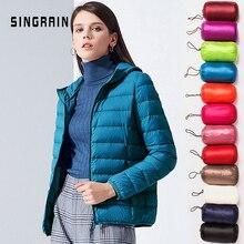 Singrain mulher para baixo jaqueta com capuz 95% pato quente casaco sólido portátil outerwear tamanho grande ultra leve para baixo casaco de inverno