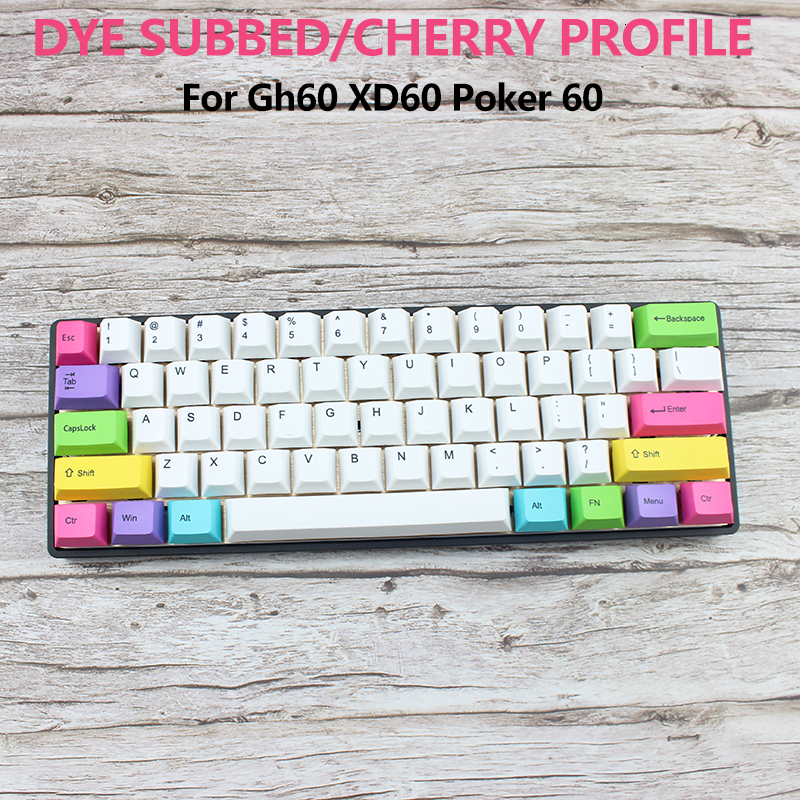 Cherry Profile 60% Keyboard Poker Layout <font><b>Keycaps</b></font> For Mechanical Keyboard Gh60 Xd60 Thick PBT Keycap Set <font><b>14</b></font> Key Color Matching image