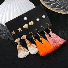 цена на vintage boho geometric conch seashell long tassel drop earrings fashion heart simulated pearl party jewelry earrings gift