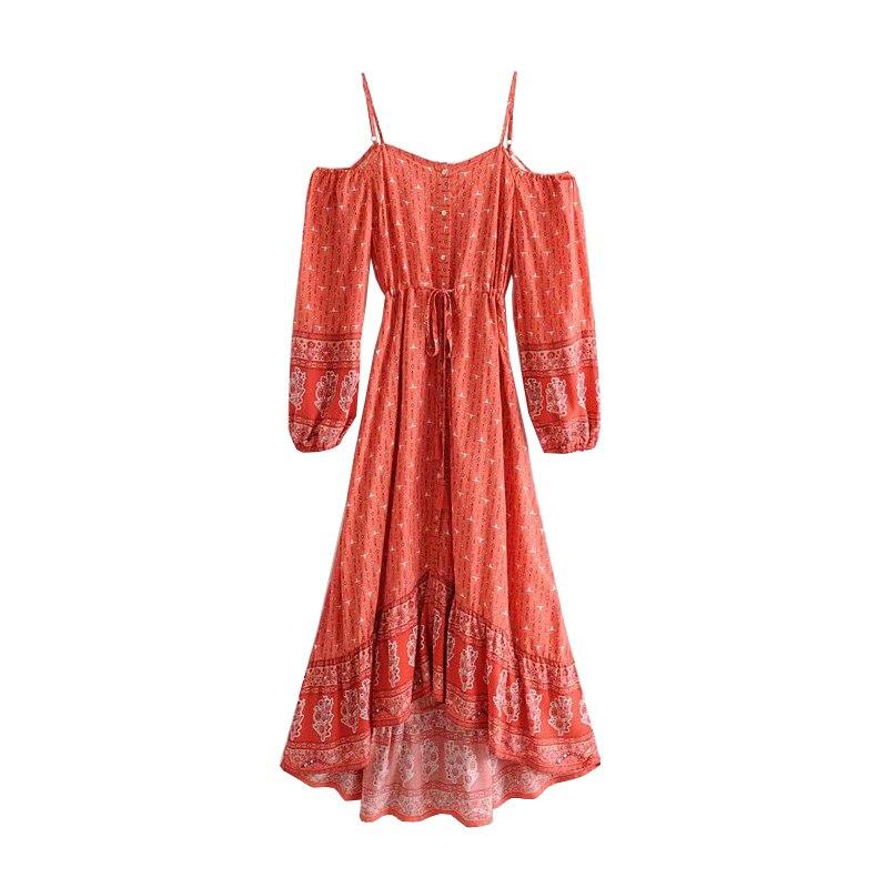 Boho Chic femmes 2019 été Vintage imprimer irrégulière robe mi-longue Vestidos nu bretelles Spaghetti sangle robes de plage