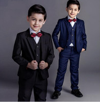 3pcs new arrival fashion baby boys kids blazers boy suit for weddings prom formal black/navy blue dress wedding boy suits