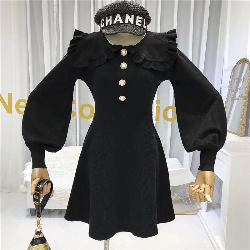 Seiwnibu 2020 New French Retro Peter Pan Collar Knitted Dress Female Celebrity Style Slim Lantern Sleeve Fashion Knit Dress(China)