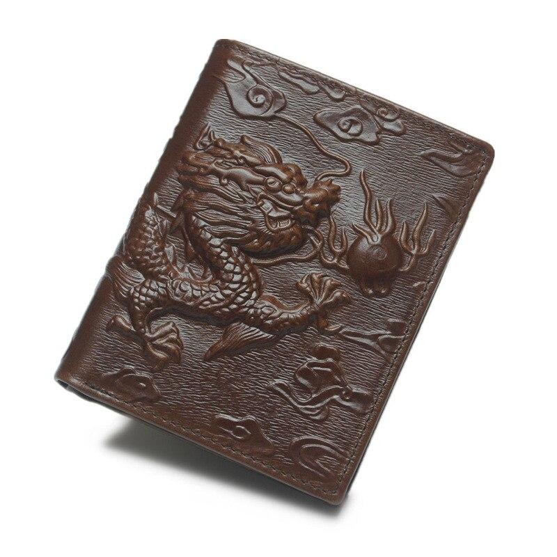 Chinese Dragon Wallet Vintage Genuine Leather Men's Wallets Brand Unique Design Male Folding Long Short Purse Card Holder W208