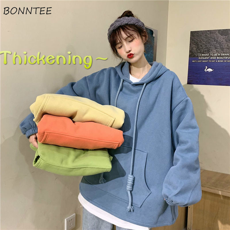 Hoodies Women Winter Thickening Candy Color Simple Loose 2XL Girls Oversized Harajuku Korean Style Chic All-match Daily Casual