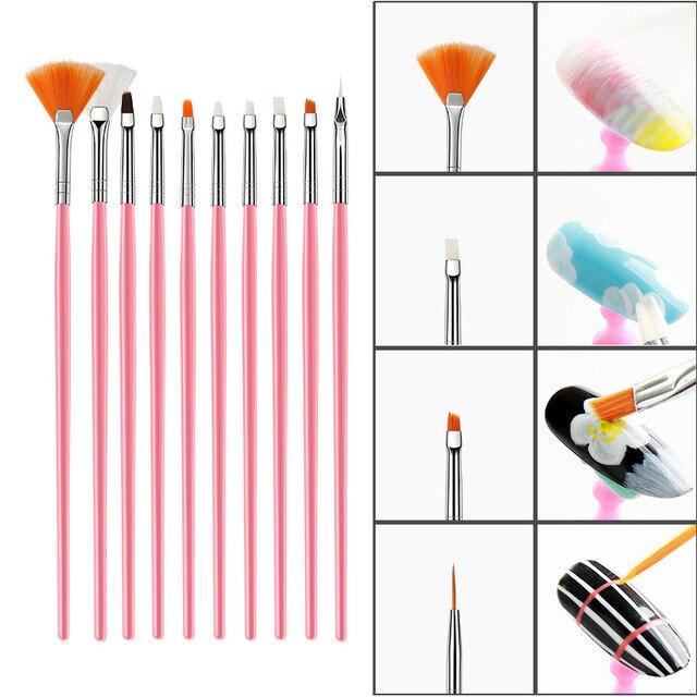 15pcs Long Tail Brush Pen Plastic Handle Pull Hook Line Pen Nail Artists Set Short Miniature Detail Soft Acrylic Oil Art Escolar 4