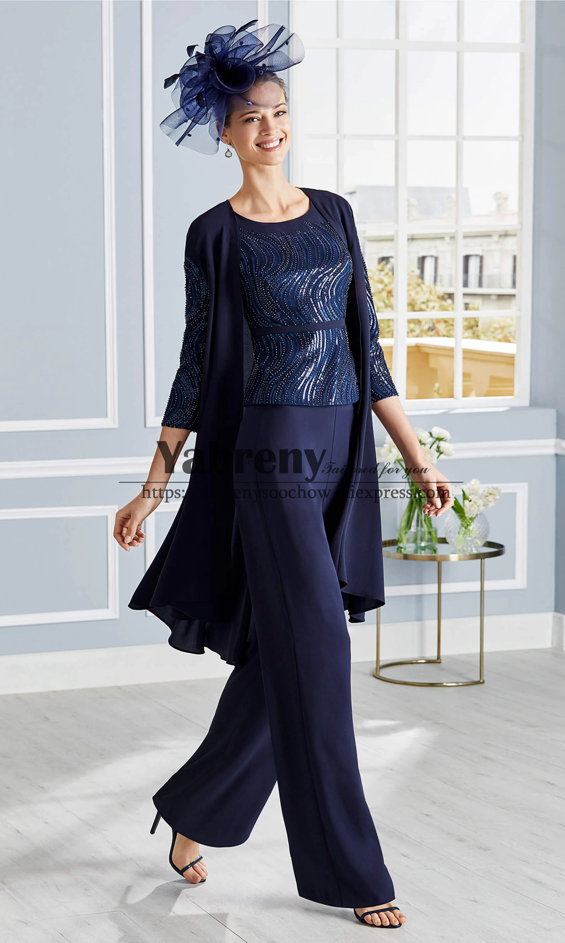 Elegant Mother Of The Bride Trousers Set 3PC Delicate Beaded Pantsuits Dark Navy