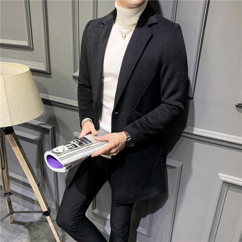Высокое качество, деловая Мужская шерстяная смесь, длинное пальто в британском стиле, на одной пуговице, приталенный шерстяной Тренч, пальт