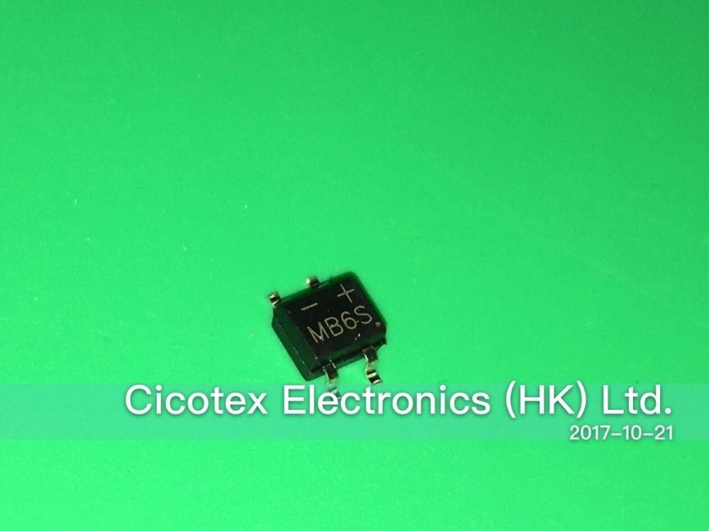100pcs/lot MB6S SOP4 IC RECT BRIDGE 0.5A 600V MBS-1 LED Rectifier B6S