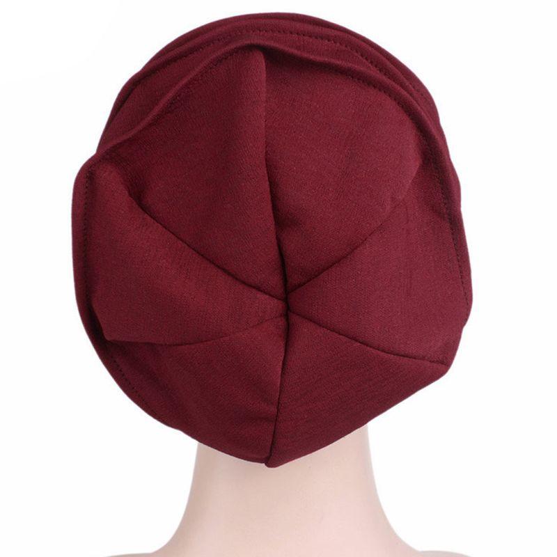 Image 5 - Fashion New Women Cotton Sleep Cap Cancer Beanie Muslim Turban  Hair Loss Chemo Hat Pleated for Lady Female 6 ColorsWomens Skullies