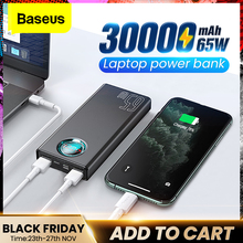 Baseus 65W Power Bank 30000mAh USB C PD Quick Charge 30000 Powerbank Portable External Battery Charger For iPhone Xiaomi Laptop