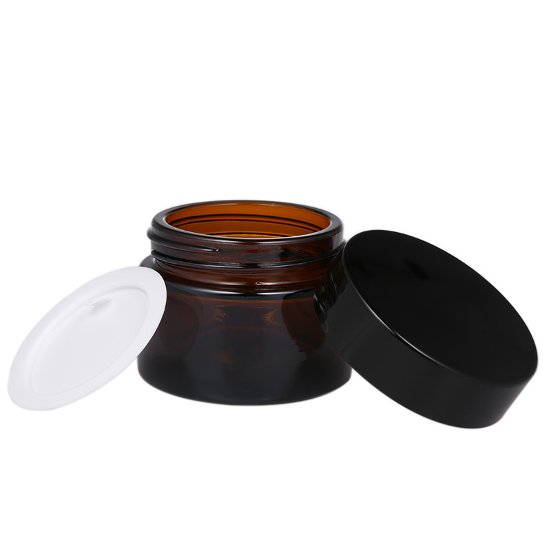10pcs Empty 5g 10g 15g 20g 30g 50g Amber Glass Jars Skin Care Cream Bottles Cosmetic Container Travel Packing Eye Cream Pot Jar