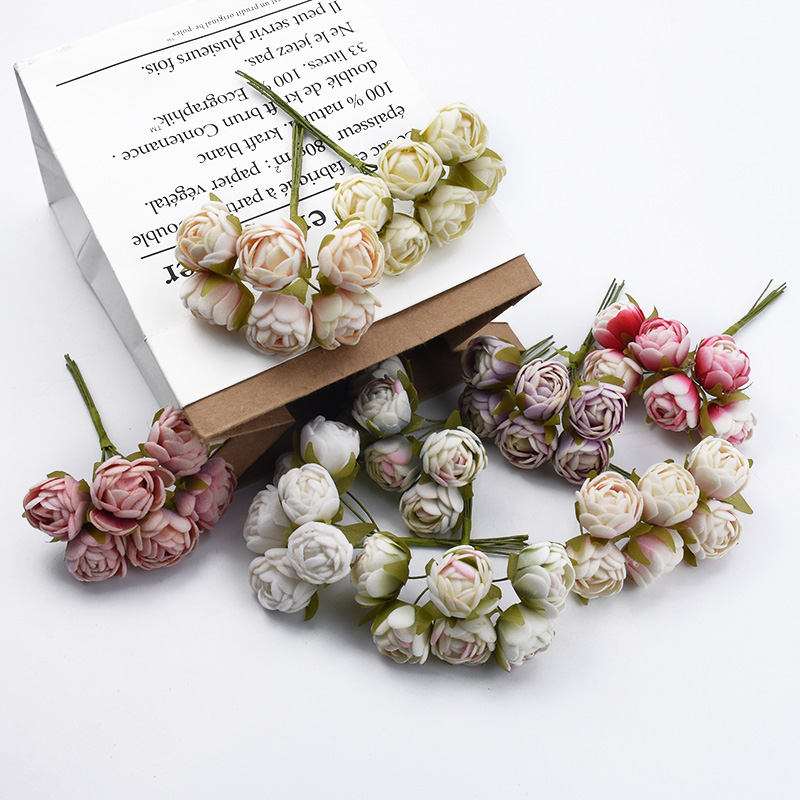 6pcs MINI tea roses Bouquet multicolor home decoration accessories christmas garland wedding gifts box artificial flowers cheap