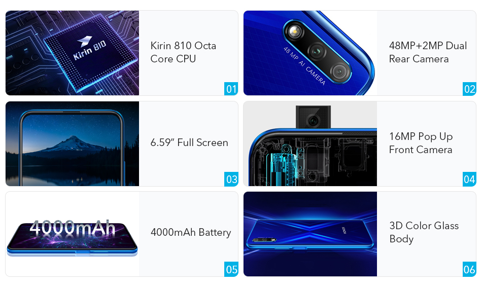 Honor 9X Kirin 810 7nm Octa core Smartphone 48MP Dual Camera 6.59 Full Screen Pop Up Front Camera Google Play (2)