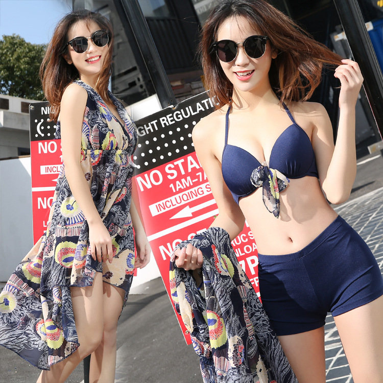 Two-piece Swimsuits Women's Three-piece Set Bikini South Korea Graceful Small Bust Gathering-Conservative Belly Covering Slimmin