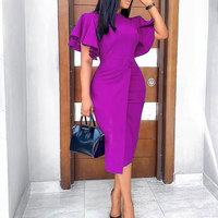 Elegant Blue Bodycon Women Dress Summer Ruffles Sleeve Midi Pencil Dresses High Waist 2020 African Vintage Retro Party Dress