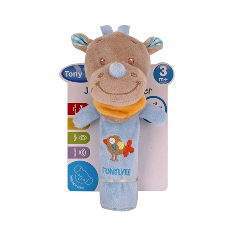 Baby Cartoon Animal Rattle Cute Plush Animal Hand Bells Infant Early Educational Doll Toys Speelgoed Newborn Rattles Ring Bell