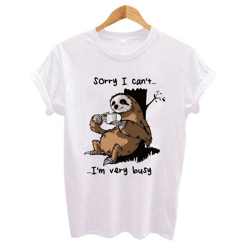 Women t shirt 2019 Cartoon sloth Print Casual Short Sleeve O-Neck t-shirt Cute style Tumblr tshirts female t shirt