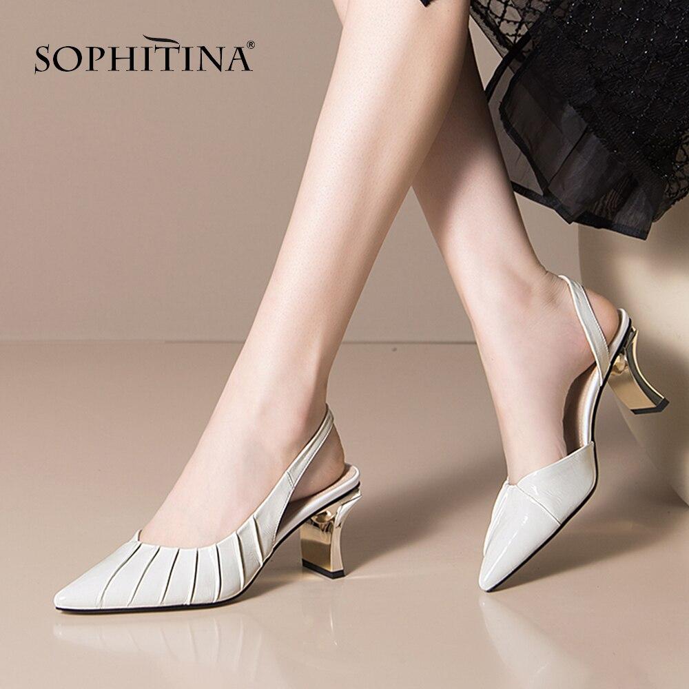 Zapatos de tacón SO491 de SOPHITINA sexis para mujer, de piel, con revestimiento de Metal, a la moda, para oficina, zapatos elegantes con punta estrecha para mujer KYSZDL gran oferta de alta calidad Natural granate pulsera moda mujer cristal pulsera joyería regalos