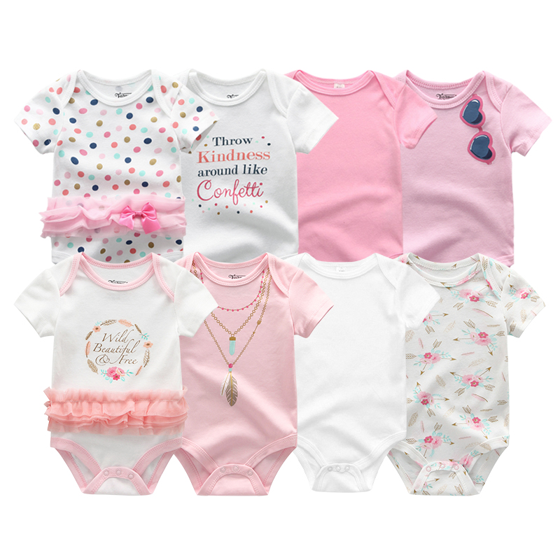 2020 8PCS/Lot Unisex 100%Cotton Bodysuits Baby Boy Clothes New Born Baby Girl Clothes Roupas de bebe Girls Baby Clothing 1