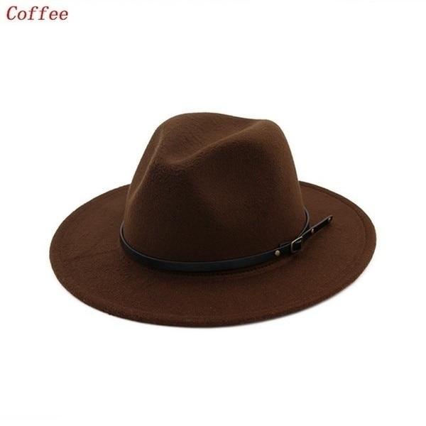 Ladies Felt Jazz Cap Cowboy Party Hat Men / Women Vintage Wide Brim Hat Church Party