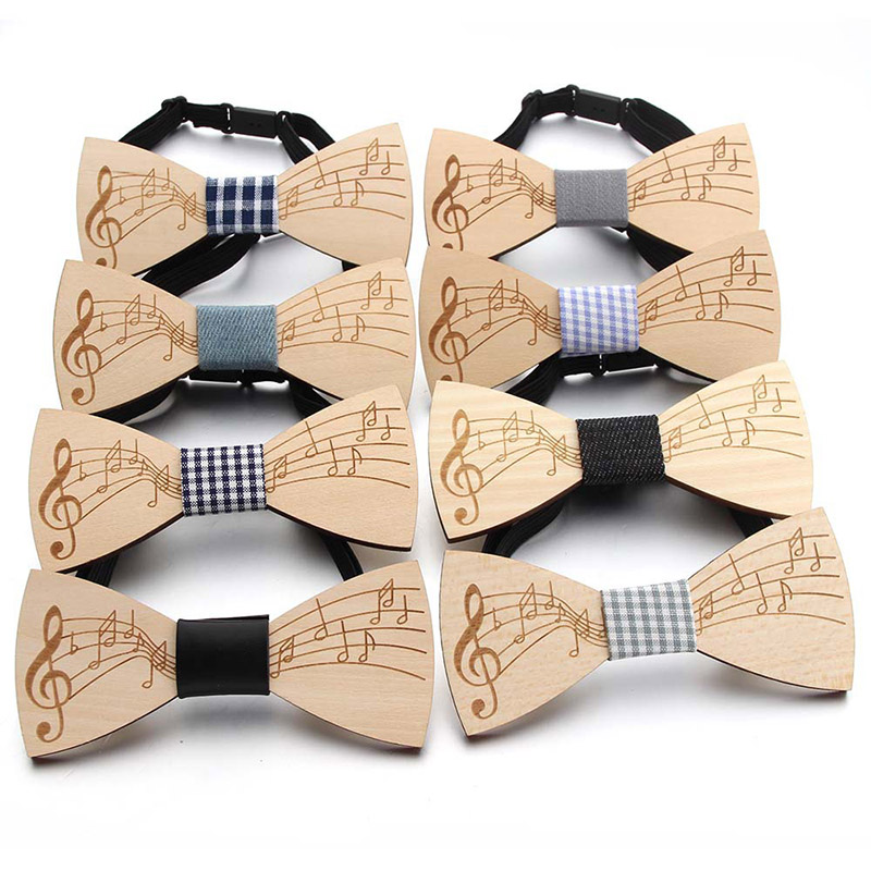 Hot Sale Men Wooden Bowtie Gentleman Bow Ties Print Music Handmade Note Pattern Tie Party Bow Ties Butterfly Wooden Unique Tie
