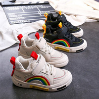 2019 boys shoes autumn new fashion brand genuine leather rainbow girls white sneakers casual sport running kids tenis infantil