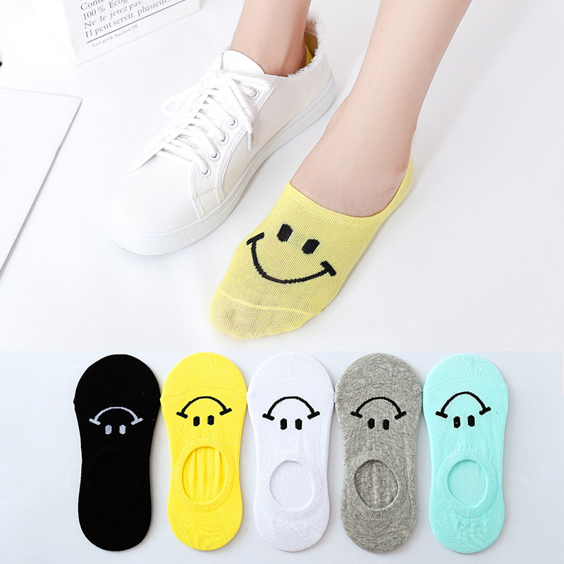 Minimalist Solid Color Women Socks Smiley Face Cartoon Pattern Boat Sock For Summer Breathable Casual Girls Funny Short Sock