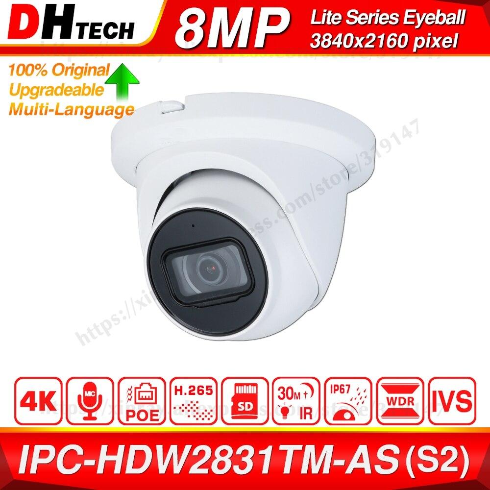 Dahua Original IPC-HDW2831TM-AS 8MP POE Built-in Mic SD Card Slot H.265+ 30M IR IVS Onvif IP67 Starlight Eyeball IP Camera