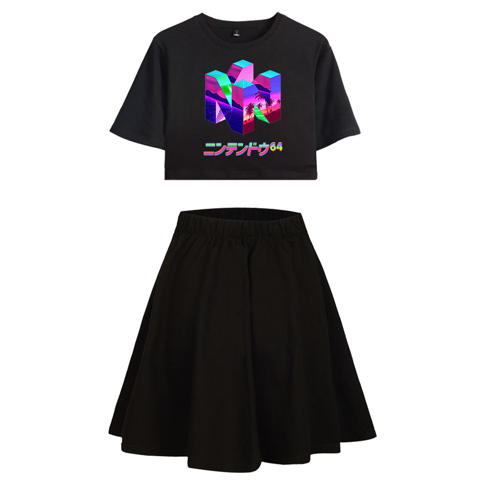 Vaporwave T-shirt Suit Female Pleated Skirts Suit Japanese Girl Sexy Crop Tshirt Mini Short Skirt Women Fashion Collocation Sets