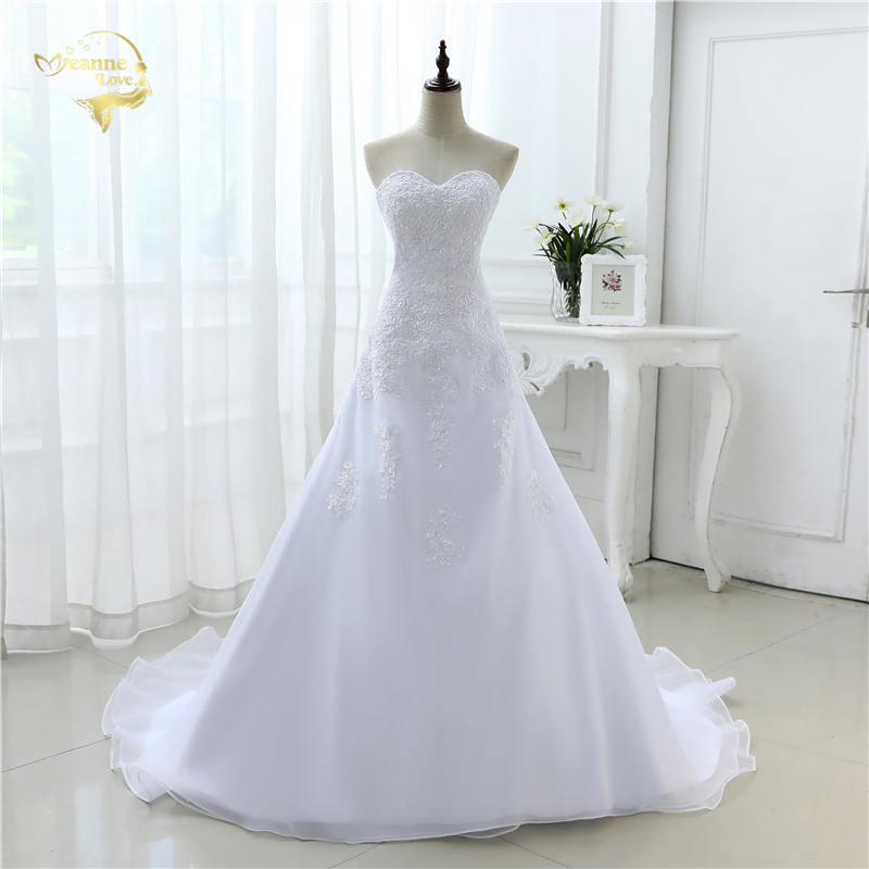 2019 New Arrival Hot Wedding Dresses Elegant Organza Applique Beading Vestidos De Novia Plus Size Beach Bridal Gowns 39001231