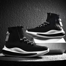 VSIOVRY 2019 Autumn Breathable Sock Sneakers Men High-Top Damping Running Shoes