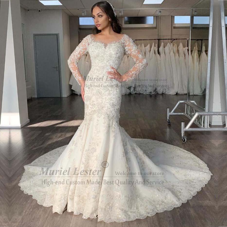 Ivory Mermaid Long Sleeves Bride Dress Vestidos De Novia 2020 Custom Made Appliques Beading Bridal Gowns Abito Da Sposa Dresses