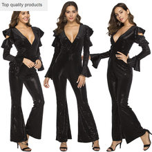 Jumpsuit Women 2020 Spring Black Sequin Sex Deep V-Neck Jumpsuits Sexy Rompers Glitter Club Party Jumpsuits Overalls LX430(China)