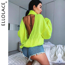 Ellolace Sexy Neon Backless Turtleneck Knitted Sweater Women Autumn Loose Solid Knitting Pollover Plus Size Long Sleeve Jumper